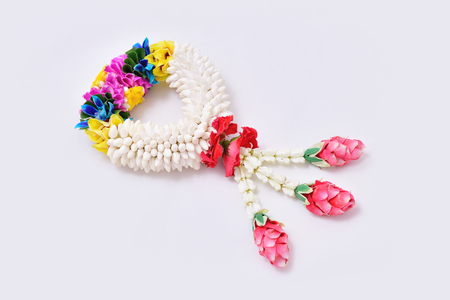 Thai traditional jasmine garland. symbol of Mothers day in thailand on white background.