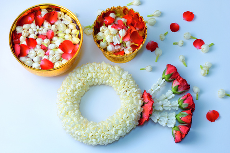 Thai traditional jasmine garland. symbol of Mother's day in thailand on white background.