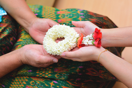 Thai traditional jasmine garland. symbol of Mother's day in thailand. Stock Photo