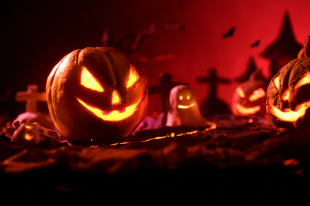 Halloween pumpkins of nightly spooky forest and Castle.