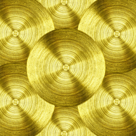 a metal Gold iron with circular texture background.