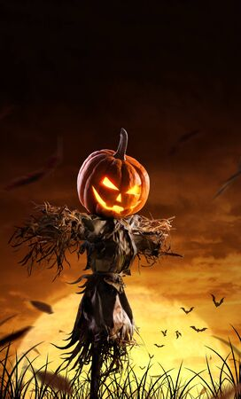 halloween pumpkin scarecrow on a wide field with the moon on a scary night. Stock Photo