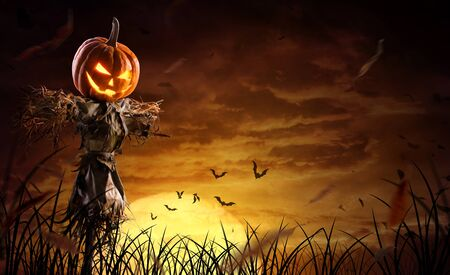 Espantapájaros de calabaza de Halloween en un amplio campo con la luna en una noche de miedo.