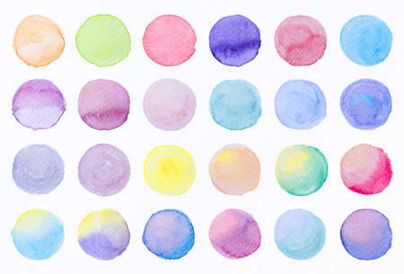 Collection label tag elements Set Watercolor brush paint strokes circle shape from a hand drawn on the white background. Standard-Bild