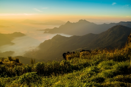 View of Phu Chi Fa at Chiang rai, Thailand photo