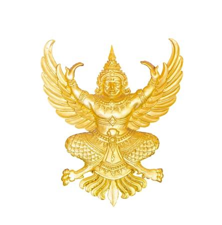 golden garuda statue isolated photo