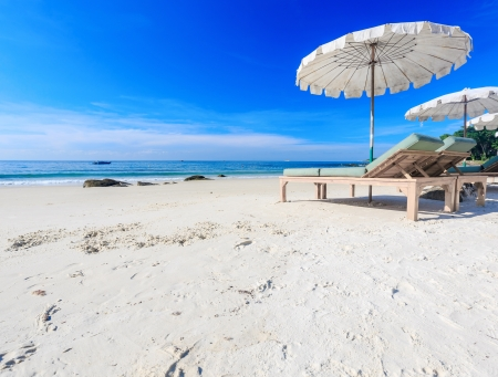 Umbrella on the beach with blue sky