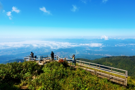 chiangmai province: Vantage point on Mount Inthanon. In northern Thailand. Blue sky, Chum scenic mountain Inthanon, Chiang Mai, Thailand, Kew Mae Pan.