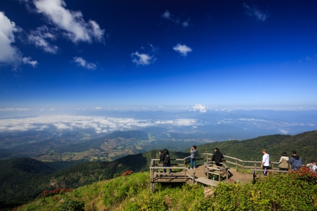 Vantage point on Mount Inthanon. In northern Thailand. Blue sky, Chum scenic mountain Inthanon, Chiang Mai, Thailand, Kew Mae Pan.