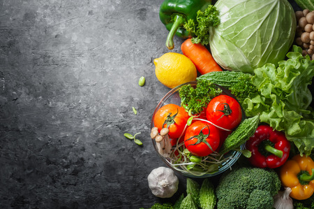 Various fresh vegetables organic food for healthy on rustic background with copy space for your text.