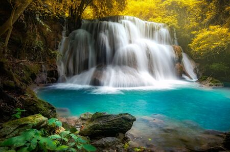 Huay mae khamin waterfall, this cascade is emerald green and popular in Kanchanaburi province, Thailand. Stock fotó