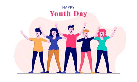 Illustration Youth day background with happy people