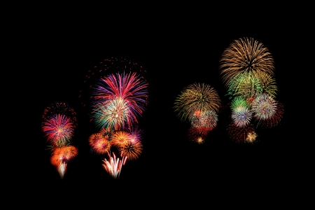 group of fireworks with black background photo