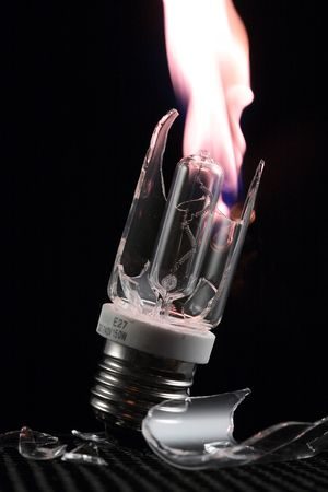 a break lamp with fire  photo