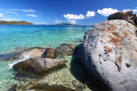 The boulders of Beef Island (British Virgin Islands). Stock Photo - 7280384