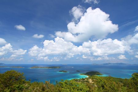View of Caneel Bay from Caneel Hill on the Caribbean island of St John - US Virgin Islands.