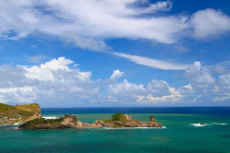 st lucia: Dennery Bay on the Caribbean island of St Lucia. Stock Photo