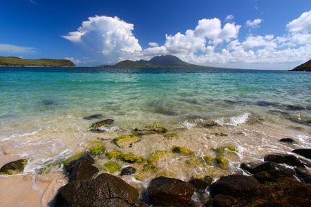 majors: The beach at Majors Bay on the Caribbean island of St Kitts
