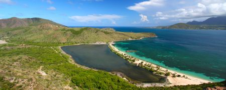 Panoramic view of Majors Bay Beach on St Kitts Stock Photo