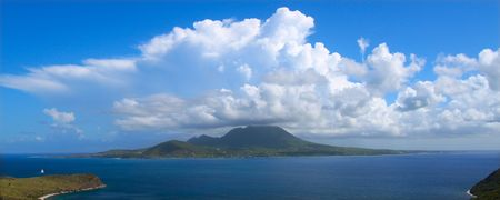 majors: View of the Caribbean island Nevis from St Kitts.