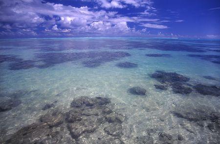 polynesia: The crystal clear lagoon on the island of Moorea - French Polynesia. Stock Photo