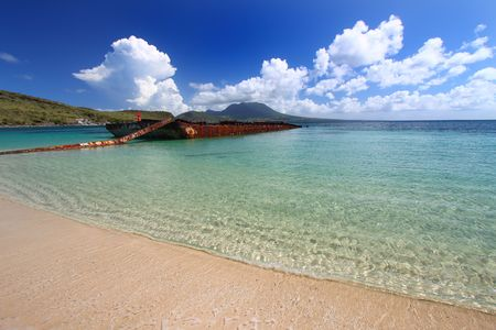 Wrecked Barge in Majors Bay - St Kitts