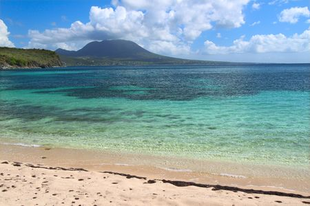 Tranquil beach and crystal clear water on Saint Kitts