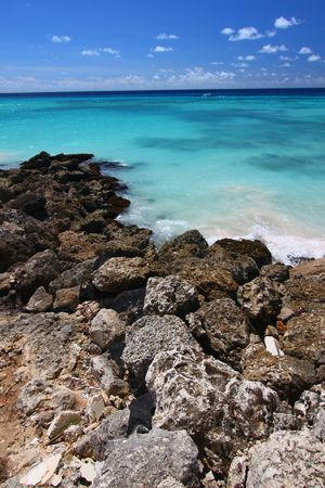 Rocky Coast of Barbados Stock Photo