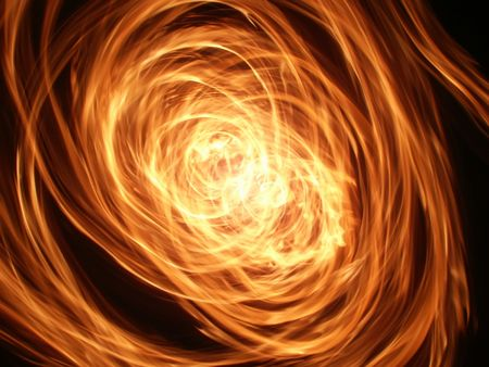 conflagration: Whirlwind of flame lights up the night Stock Photo