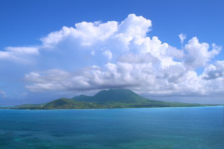 View of the Caribbean island Nevis from Saint Kitts