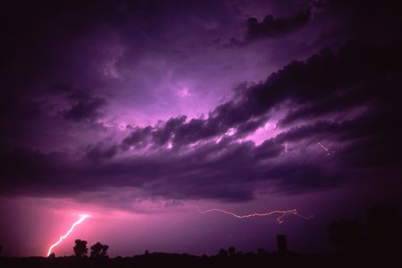 Lightning of summer thunderstorm near Rockford, Illinois