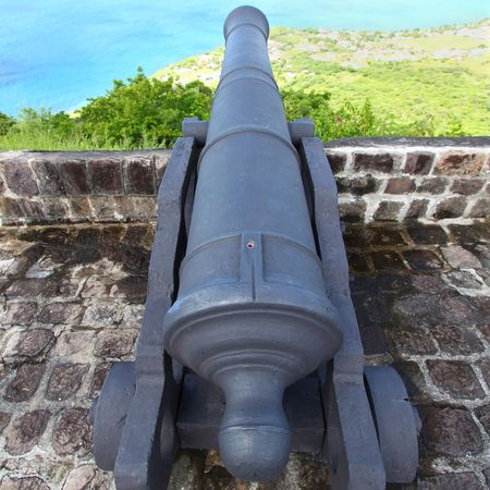 Cannon at Brimstone Hill Fortress National Park on Saint Kitts Stock fotó