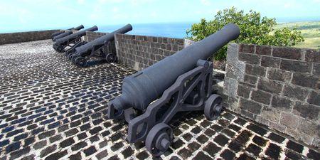 大砲のラインの壁でブリムス トーン ヒル要塞国立公園セントクリストファーの