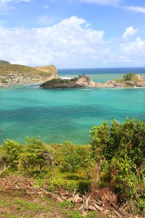 Picturesque view of Dennery Bay on the Caribbean island of Saint Lucia photo