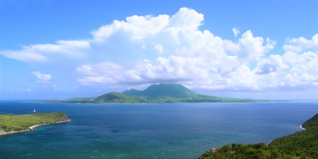 View of the Caribbean island Nevis from Saint Kitts photo