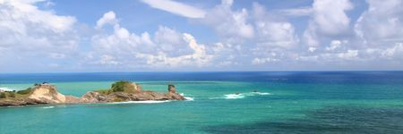 Panoramic view of Dennery Bay on the Caribbean island of Saint Lucia Stock Photo