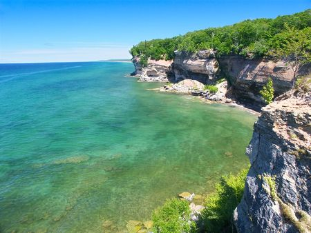 lakeshore: View of Lake Superior from Pictured Rocks National Lakeshore in Michigan. Stock Photo