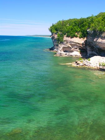lakeshore: Lake Superior from Pictured Rocks National Lakeshore in Michigan Stock Photo