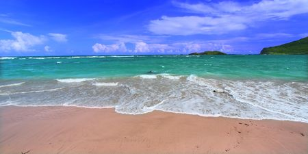 A beautiful beach on the Caribbean island of Saint Lucia. photo
