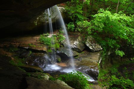 View from behind a tranquil waterfall on Cane Creek in northern Alabama Stock Photo - 8153432