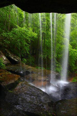 View from behind a tranquil waterfall on Cane Creek in northern Alabama Stock Photo - 8153445