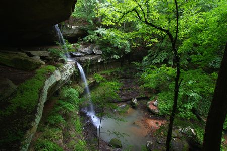 cane creek: Waterfall flows into a deep canyon in the woodland of northern Alabama