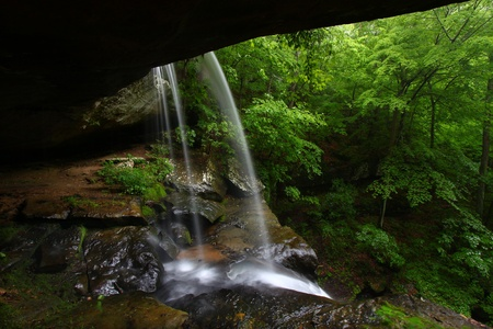 View from behind a tranquil waterfall on Cane Creek in northern Alabama Stock Photo - 8466578