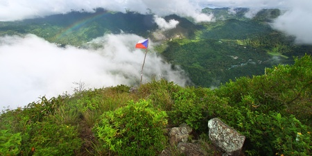 st lucia: Soufriere from the cloud covered summit of the Petit Piton - St Lucia