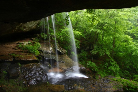 View from behind a tranquil waterfall on Cane Creek in northern Alabama Stock Photo - 8499558