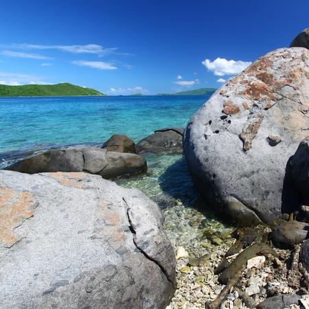 Huge boulders dot the coastline of the British Virgin Islands photo