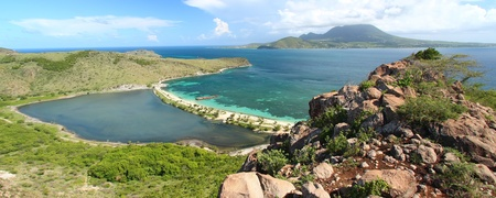 Panoramic view of Majors Bay Beach and lagoon on Saint Kitts
