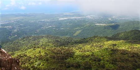 View of the Puerto Rican landscape from El Yunque Peak. photo
