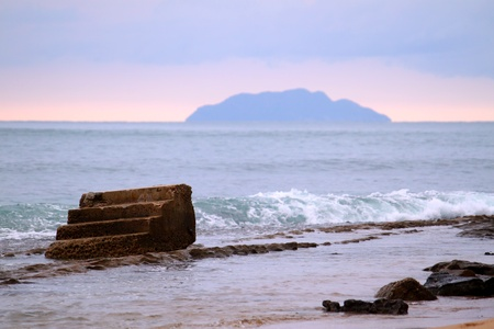tres: Landscape of Steps Beach near Rincon in Puerto Rico