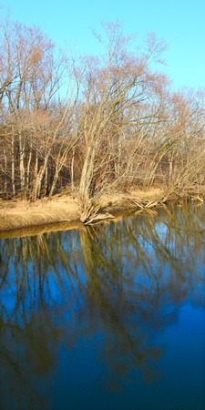 reflect: Trees reflect off the Kishwaukee river in northern Illinois Stock Photo